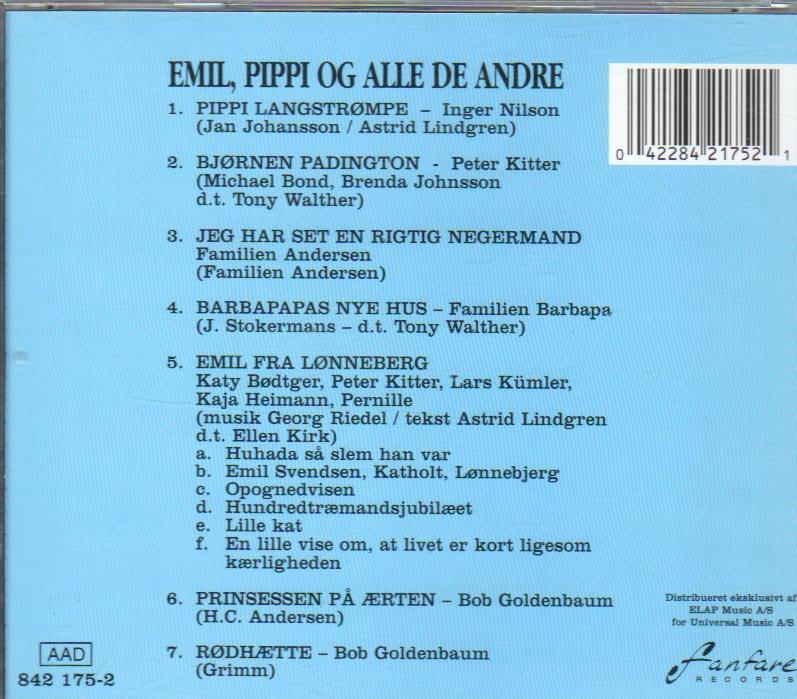 Cd Children S Songs Danish Pippi Emil Og Alle De Andre Michel