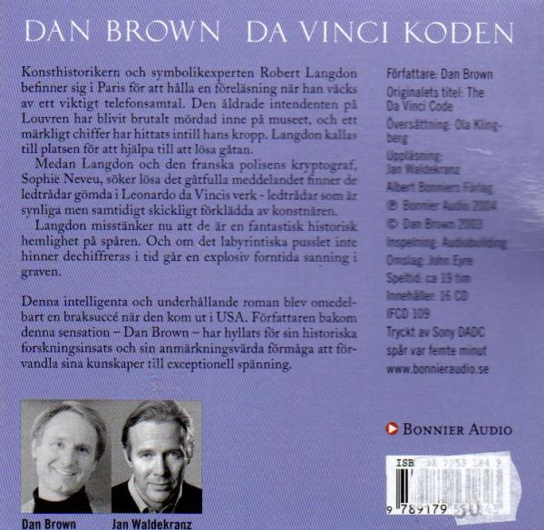 Dan Brown - Da Vinci Koden - audiobook 16 CD  Swedish